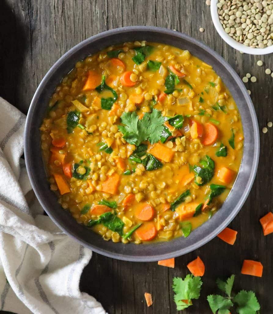vegan lentil curry soup