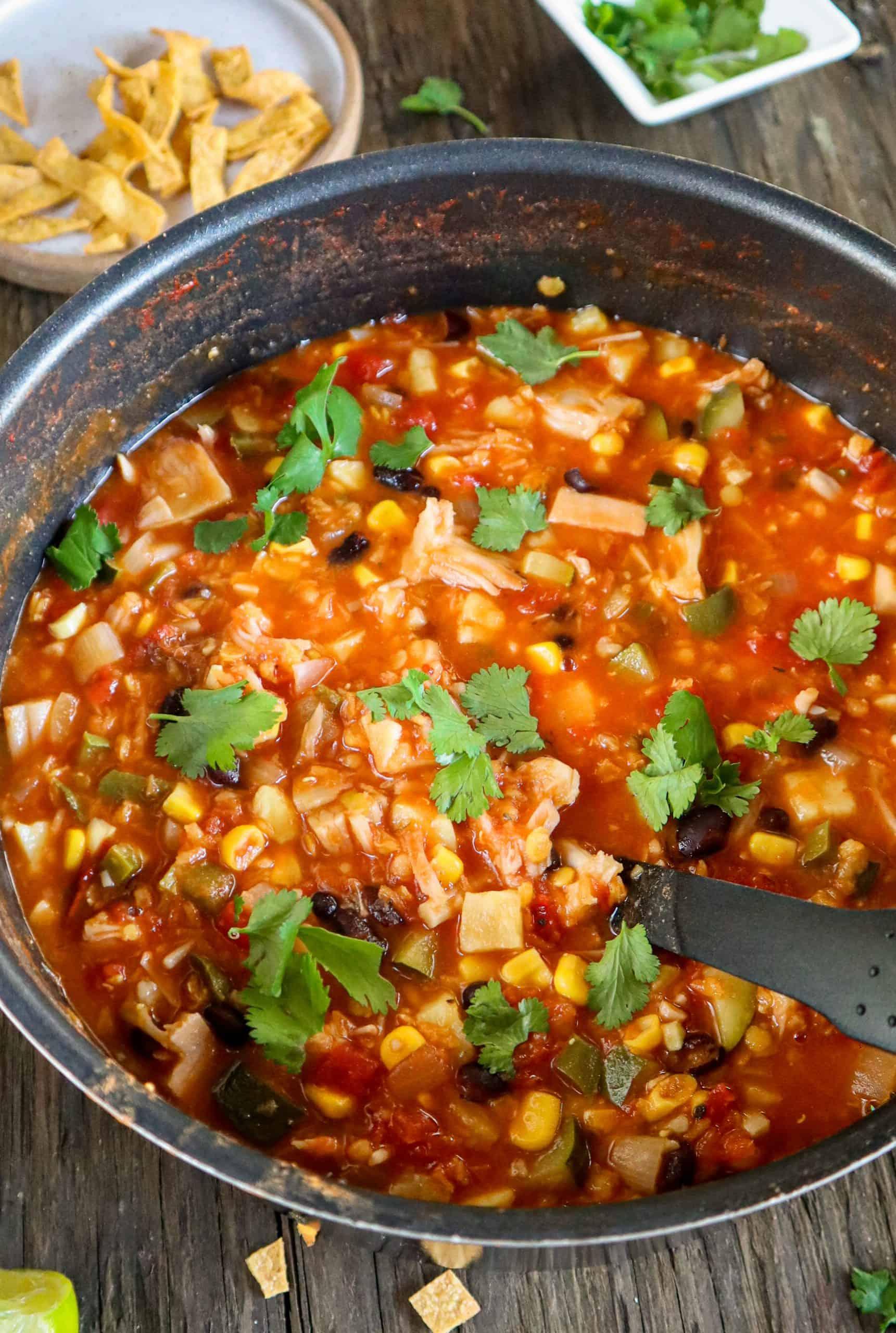 vegan chicken tortilla soup