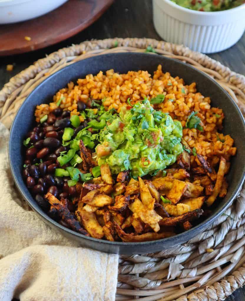 vegan chicken burrito bowl